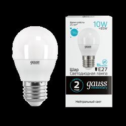 Образец Лампа светодиодная LED 10Вт E27 220В 4100К Elementary шар   53220   Gauss