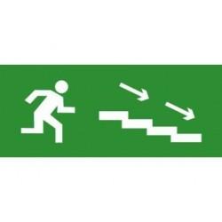 Пиктограмма (наклейка) для TLM ЭП12 По лестнице вниз направо 140x280 мм | ЭП12 140280 | TechnoLux
