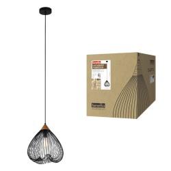 """DLC-V203 E27 BLACK Светильник декор. подвесной, серия """"Vintage"""". металл, дерево; цвет черный. d-330мм, h-1140мм.   UL-00000974   Fametto"""