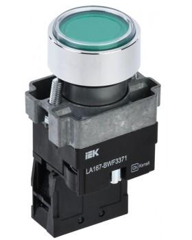 Кнопка LA167-BWF3371 d=22мм RC 1з с подсвет зеленая   BBT20-BWF3371-1-12-67-K06   IEK