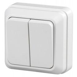 2-104-01 Intro Выключатель двойной, 10А-250В, IP20, ОУ, Quadro, белый | Б0027640 | Intro