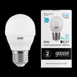 Лампа светодиодная LED 6Вт E27 220В 4100К Elementary шар | 53226 | Gauss