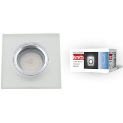 DLS-L113 GU5.3 CHROME/MATT CLEAR Светильник декор.встр Luciole. квадр GU5.3 доп.LED подсвет. 3Вт Металл/стекл. Хром/мат+прозр | UL-00000366 | Fametto