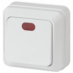 2-102-01 Intro Выключатель с подсветкой, 10А-250В, IP20, ОУ, Quadro, белый | Б0027634 | Intro