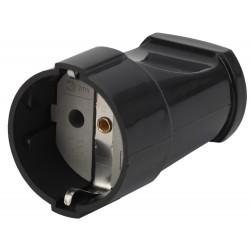 Rx2-B ЭРА Розетка кабельная с/з прямая 16A черная (24/384/4608) | Б0039683 | ЭРА