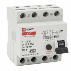 Устройство защитного отключения УЗО 4P 16А/30мА (электронное) EKF | elcb-4-16-30e | EKF