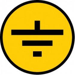 """Самоклеящаяся этикетка: 30х30 мм, символ """"Заземление""""   YPC20-ZAZEM-1-096   IEK"""