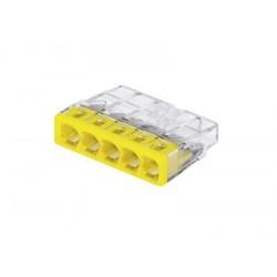 Клемма 5-проводная 0.5-2.5мм2 одножильный желтый (уп/100шт) | 2273-205 | WAGO