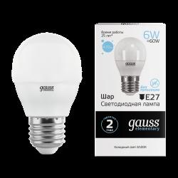 Лампа светодиодная LED 6Вт E27 220В 6500К Elementary шар | 53236 | Gauss