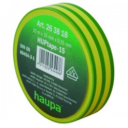 Изолента ПВХ, цвет желто-зеленый, шир. 19 мм, длина 20 м, d 74 мм | 263860 | Haupa