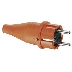 Вилка резиновая с мультизаземлением IP44, 16A, 2P+E, 250V, (оранжевый) | 1419170 | ABL Sursum