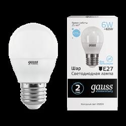 Лампа светодиодная LED 6Вт E27 220В 6500К Elementary шар   53236   Gauss