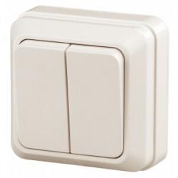 2-104-02 Intro Выключатель двойной, 10А-250В, IP20, ОУ, Quadro, сл.кость | Б0027641 | Intro