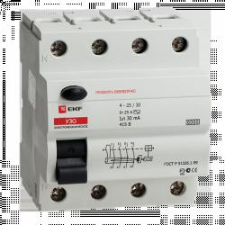 Устройство защитного отключения УЗО 6кА 4P 25А/30мА (электромеханическое) EKF | elcb-6-4-25-30-em | EKF