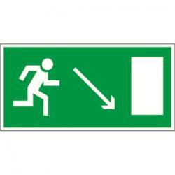 Пиктограмма (Наклейка) Направление к эвакуационному выходу направо вниз NPU-2110.E07 для BERG, TRIOLA | a10878 | Белый свет