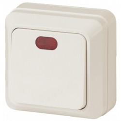 2-102-02 Intro Выключатель с подсветкой, 10А-250В, IP20, ОУ, Quadro, сл.кость | Б0027635 | Intro