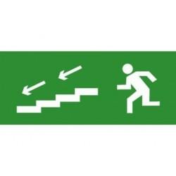 Пиктограмма (наклейка) для TLM ЭП13 По лестнице вниз налево 140x280 мм | ЭП13 140280 | TechnoLux