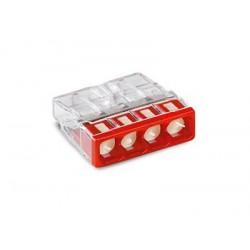 Клемма с пастой 4-проводная 0.5-2.5мм2 одножильный красный (уп/100шт) | 2273-244 | WAGO