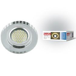 DLS-L127 GU5.3 CHROME/GLASSY Светильник декор.встр Luciole, GU5.3 доп.LED подсвет. 3Вт Металл/стекл. Хром/зерк.   UL-00001413   Fametto