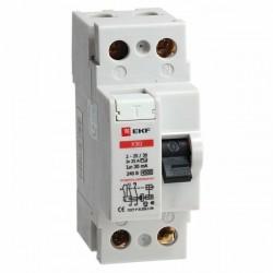 Устройство защитного отключения УЗО 2P 63А/30мА (электромеханическое) EKF | elcb-2-63-30-em | EKF