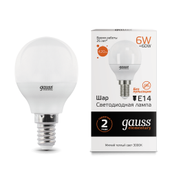 Лампа светодиодная LED 6Вт E14 220В 2700К Elementary шар | 53116 | Gauss