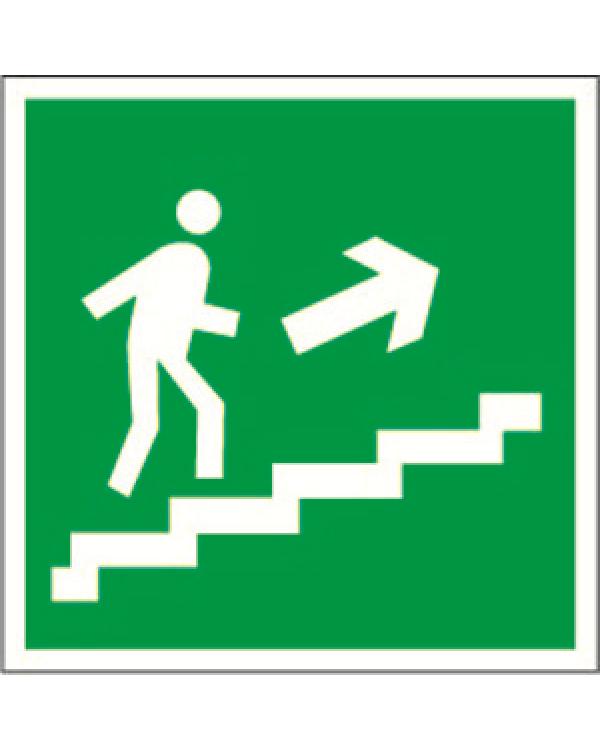 """Знак безопасности BL-3015B.E15""""Напр. к эвакуац. выходу по лестн. вверх (прав.)""""   a14593   Белый свет"""