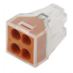 Строительно-монтажная клемма СМК NO-222-19 модель 104 4 отверстия 1.0-2.5мм2 (уп.100шт.)   Б0033393   ЭРА