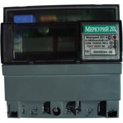 Счетчик Меркурий 201.4 10-80А/220В (1 тар.) ЖКИ (DIN)