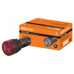 Сигнализатор звуковой AD22-22M/r31 d22 мм (LED) индикация 220В AC красный   SQ0746-0004   TDM